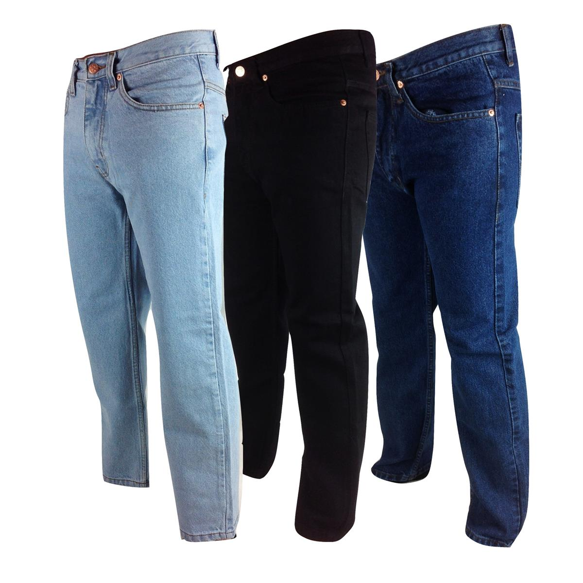 2baa2a65b942c Mens Regular Fit Euro Denim Jeans 30-50 Comfort Straight Leg Plain ...
