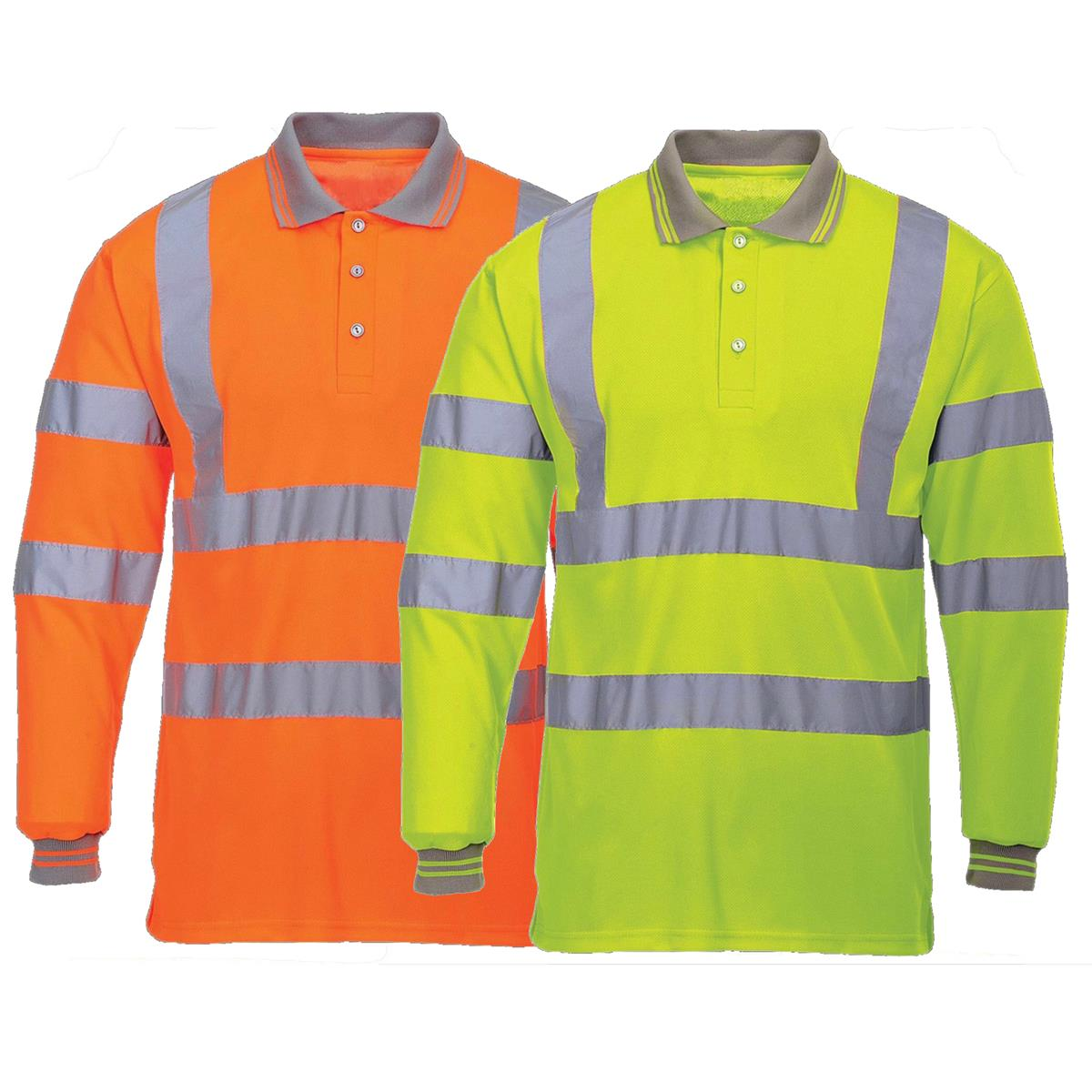 Hi vis long sleeve polo shirt with reflective tape strip for Hi vis shirts with reflective tape