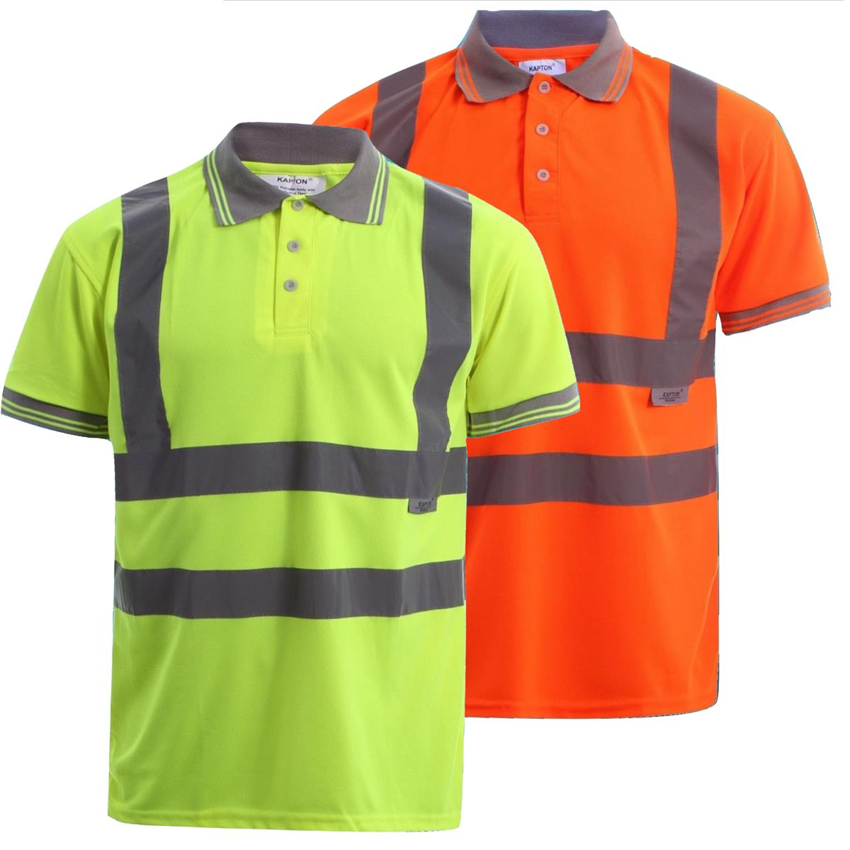 Hi vis short sleeve polo shirt with reflective tape strip for Hi vis shirts with reflective tape