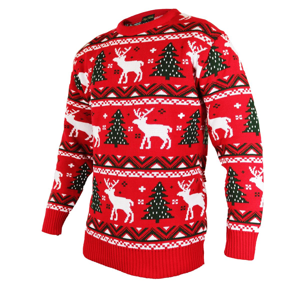 Christmas Jumpers in Fairisle RED, Knitted Style with Reindeer, Xmas ...