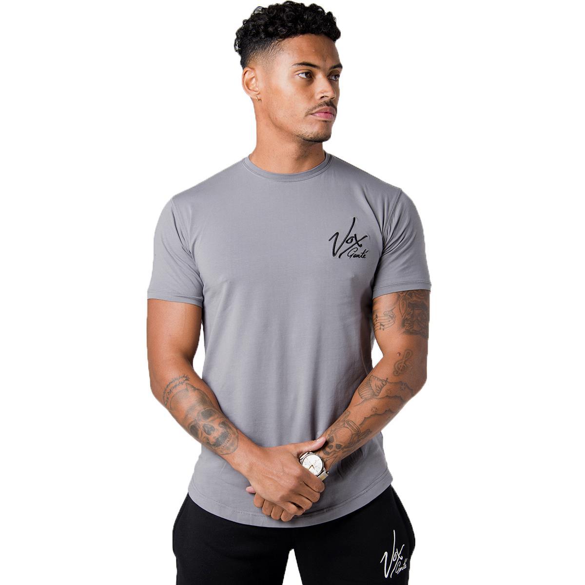 Vox gente mens muscle fit longline short sleeve tee shirt for Long line short sleeve t shirt